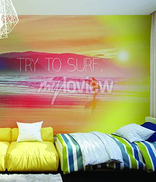 Fototapet Försök att surfa