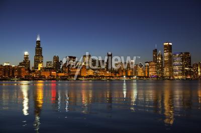 Fototapet Chicago horisont på skymningen