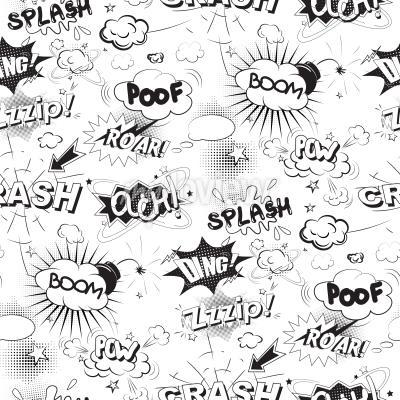 Fototapet Comic svart pratbubblor i popkonststil seamless