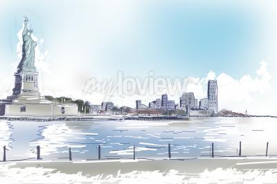 Canvastavlor Linjegrafik illustration av Frihetsgudinnan och centrala New York City på en klarblå solig dag. Resor och turism koncept