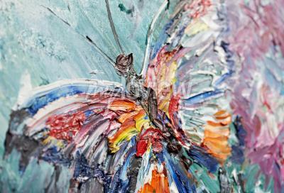 Canvastavlor Närbild fragment av oljemålning fjäril