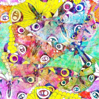Canvastavlor Seamless färgrika fjärilar