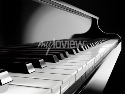 Canvastavlor Pianotangenter på svart piano