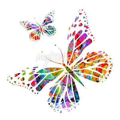 Fototapet Silhuett fjäril på fläckar av färg