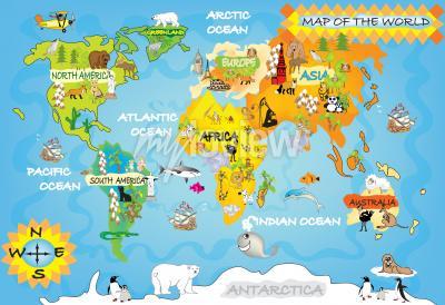 Fototapet Barn världskarta