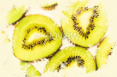 Canvastavlor Kreativa matkonst på skivor av kiwi