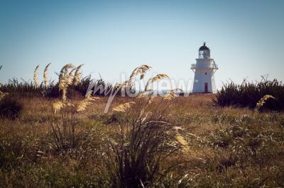 Fototapet Historiska fyr på Waipapa Point Catlins Nya Zeeland