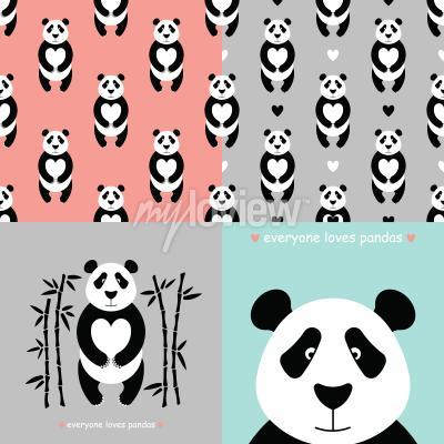 Fototapet Panda bear uppsättning
