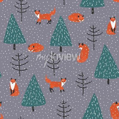 Canvastavlor Rävar på vintern skog vektor seamless