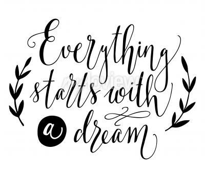 Affisch Allt börjar med en dröm Inspirera citationstecken