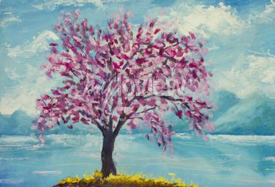 Canvastavlor Blommande sakura på vatten oljemålning