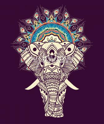 Canvastavlor Sömlös handritad karta med Elephant