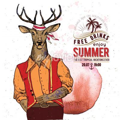 Affisch Illustration av pirat hjort på texturerad bakgrund