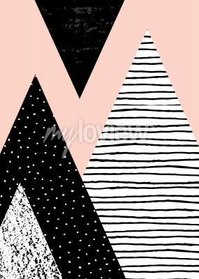 Fototapet Abstrakt geometrisk komposition i svartvit och pastellrosa