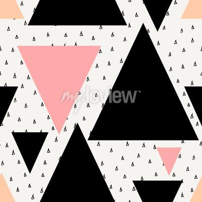Fototapet Abstrakt geometrisk sömlös repetitionsmönster i svart kräm pastell rosa och orange