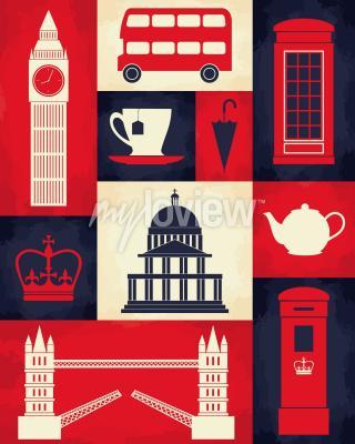 Affisch Retro stilaffisch med Londons symboler och landmärken