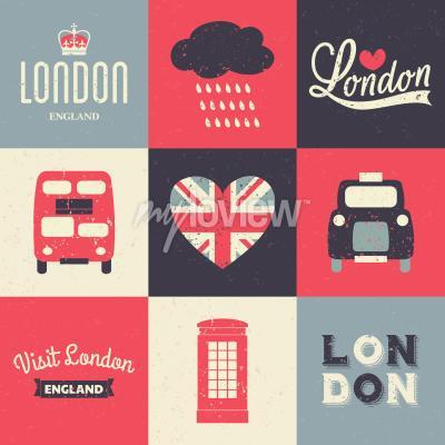 Affisch En uppsättning vintage stil hälsningskort med Londons symboler