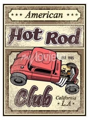Affisch Hot rod anpassad bilaffisch