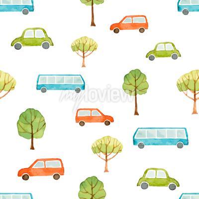 Fototapet Akvarell sömlös mönster bilbuss och träd