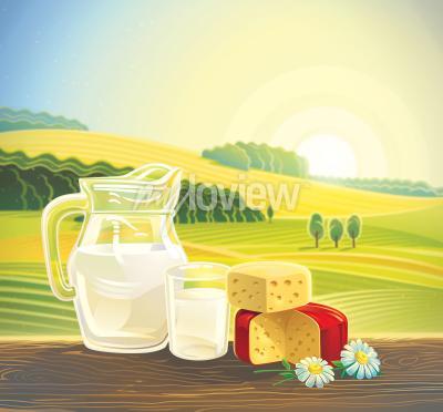 Affisch Landsbygdens landskap med uppsättning mejeriprodukter