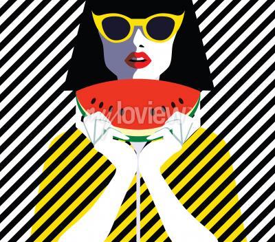 Canvastavlor Vacker ung kvinna med solglasögon och vattenmelon, retro stil