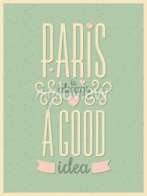 Fototapet Vintage stil typografi Paris affisch