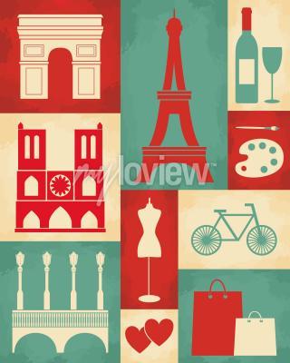 Fototapet Retro stilaffisch med Paris symboler och landmärken