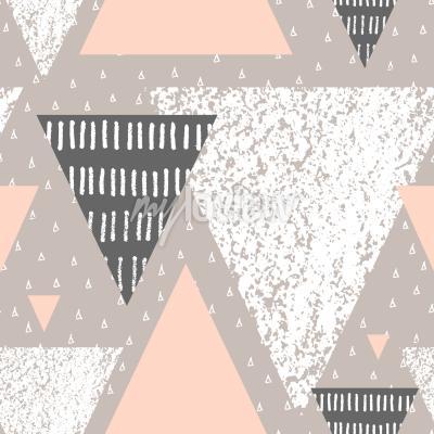 Fototapet Abstrakt geometrisk sömlös repetitionsmönster i vitgrå och pastellrosa