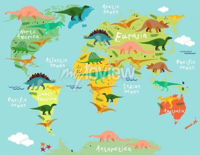 Fototapet Dinosaurs karta över världen för barn och barn