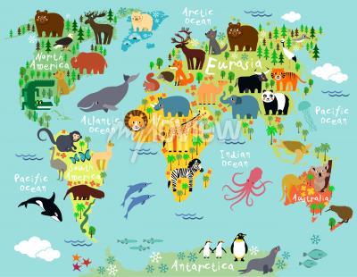 Fototapet Djurkarta över världen för barn och barn