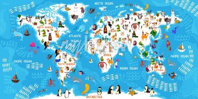 Fototapet Cartoon animal world map
