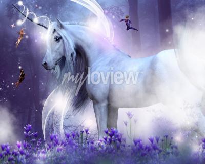 Fototapet En majestätisk enhörning med tre små älvor som skickar magiska gnistrar