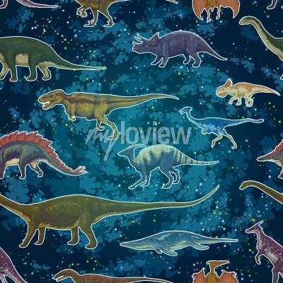 Fototapet Diplodocus Tyrannosaurus Rex Pterodactylus ... i sömlösa mönster, handritad vektor illustration