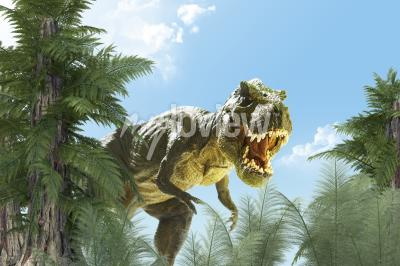 Fototapet dinosaur i djungelbakgrunden 3D render