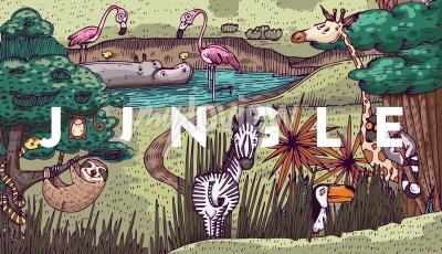 Fototapet Vilt liv i djungeln med olika djur