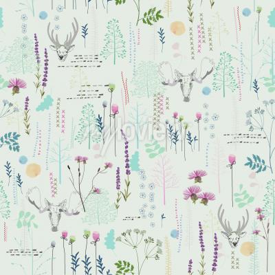 Fototapet Seamless mönster med träd buskar lövhjort älg djur på ljus bakgrund i vintage stil