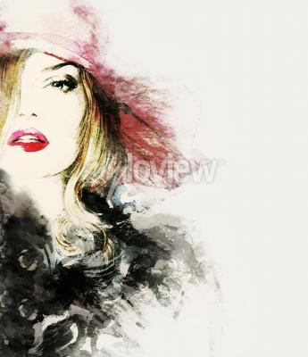 Canvastavlor Stil kvinna porträtt abstrakt mode vattenfärg illustration