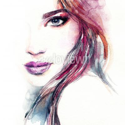 Affisch Abstrakt kvinna ansikte vattenfärg målning