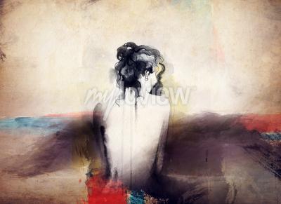 Canvastavlor Kvinna porträtt abstrakt vattenfärg mode bakgrund
