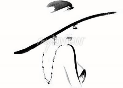 Canvastavlor Kvinna porträtt med hatt mode illustration