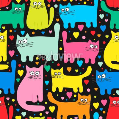 Fototapet Funny kittens and hearts