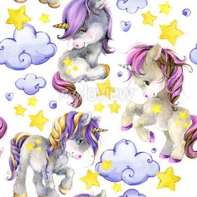 Fototapet Cute unicorn watercolor seamless pattern