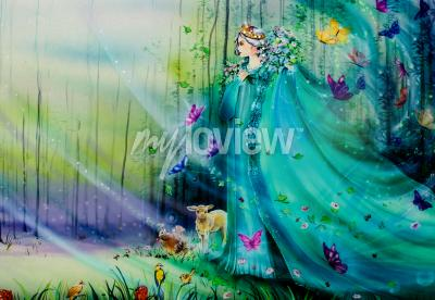 Fototapet Scenic view of fantasy world with fairies and ethereal animals