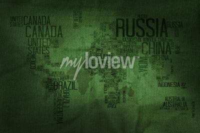 Fototapet Countries Name Typography World Map on Military Fabric Texture Background