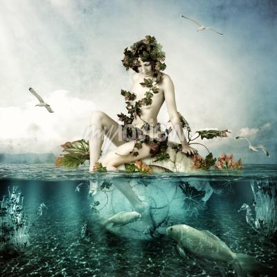 Canvastavlor Mermaid underwater Beautiful woman seating on a shell in sea or ocean