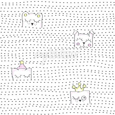 Fototapet Vector illustration of seamless baby pattern
