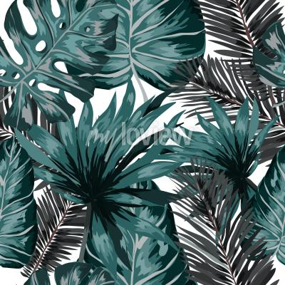 Fototapet Watercolor seamless pattern with tropical leaves palms monstera passion fruit