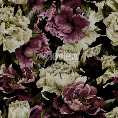 Fototapet Seamless floral pattern with roses on dark background watercolor