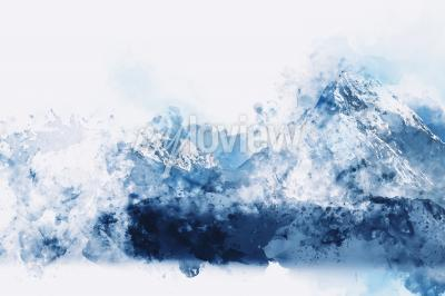 Canvastavlor Abstract mountains in blue tone digital watercolor painting