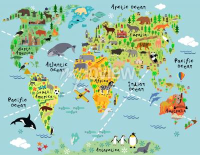 Fototapet Cartoon world map with landscape and animal